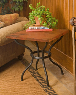 rustic iron end table with custom top