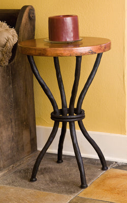 rustic iron accent table with custom top