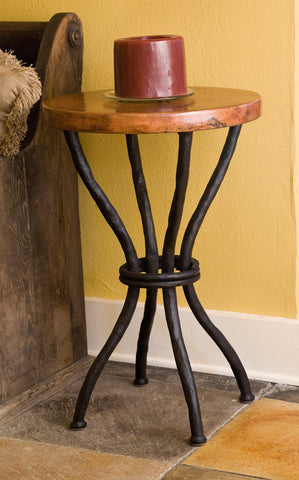 Rustic Copper Top End Table CrookedWood - Copper top accent table