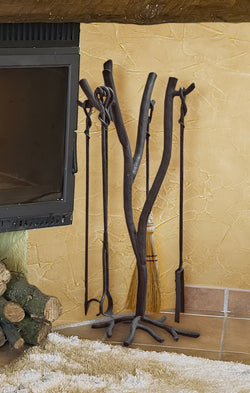 rustic custom iron branch fireplace tools