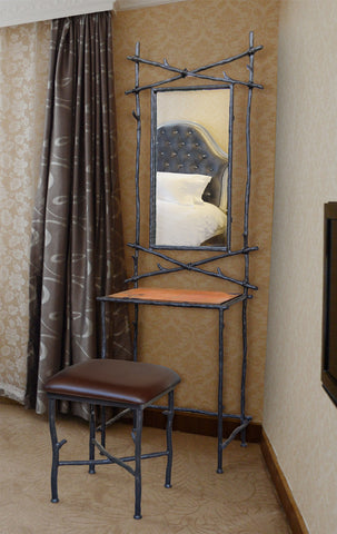 rustic custom iron dressing stand