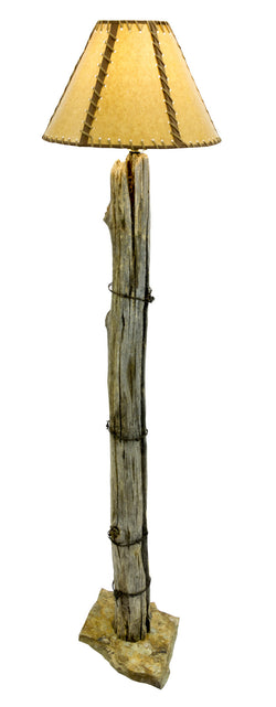 Homestead Fence Post Lamp with Original Barbed Wire from CrookedWood