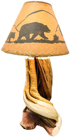 Rustic Juniper Table Lamp on Juniper Base No. 048 by CrookedWood
