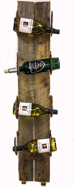 Horseshoe Barnwood Wall Wine Rack Large - 4 Bottle