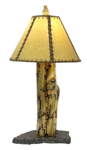 Lichtenburg Fractal Wood Burned Aspen table lamp mounted on granite