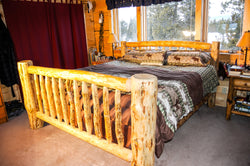 Handmade Lodgepole Pine Log Bed with Straight Headboard at CrookedWood