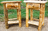 Rustic Lodgepole Pine Log Nightstand Tables ~ From CrookedWood
