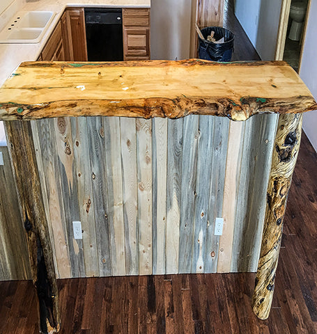 pine natural edge bar top with green inlay by crookedwood