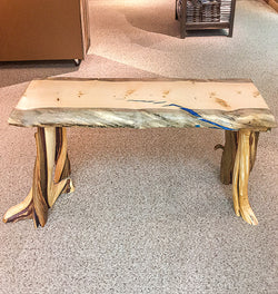 Blue Stained Pine Bench with Inlay No. 067