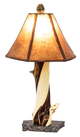 Juniper table lamp mounted on granite