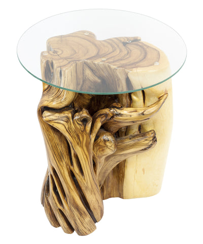 Twisted Juniper end table with glass top