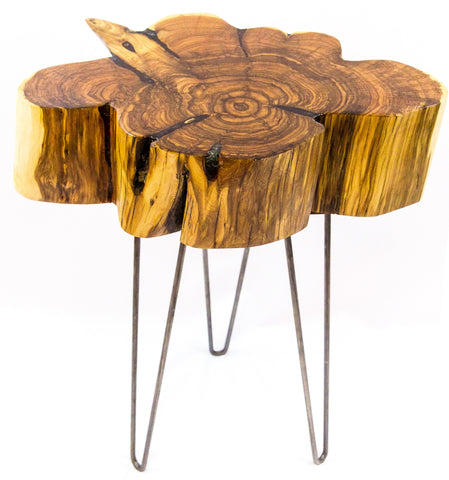 Rustic Turquoise Inlaid Colorado Juniper Side Table with Hairpin Legs by CrookedWood