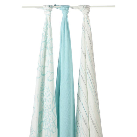 Bamboo Swaddle 3 Pack - Azure Beads