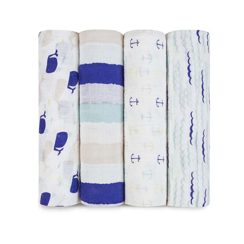 Classic Muslin Swaddle 4 Pack - High Seas