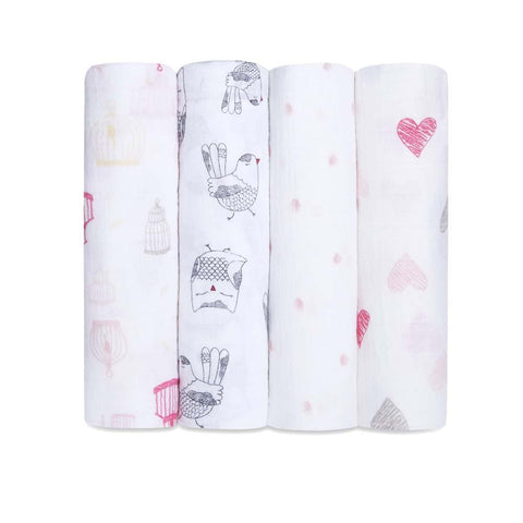 Classic Muslin Swaddle 4 Pack - Love Bird