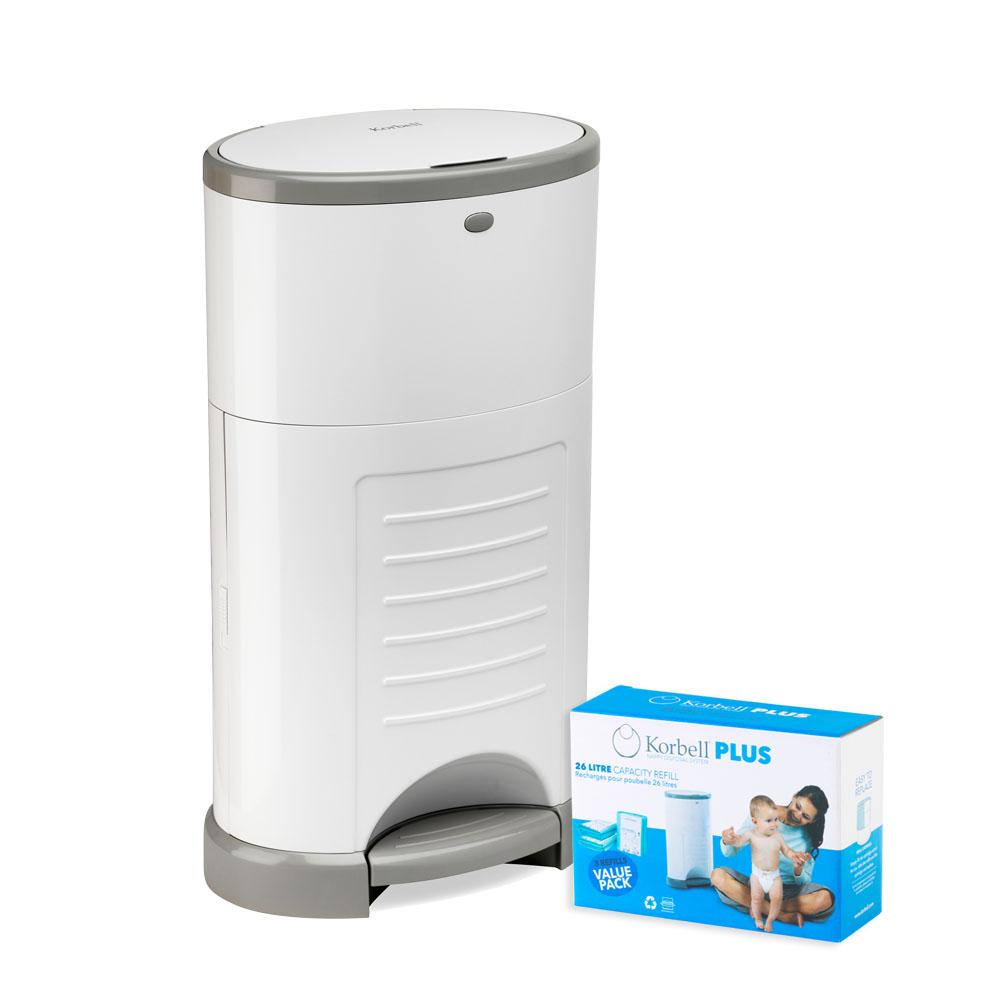 Nappy Disposal System PLUS & Refills - White