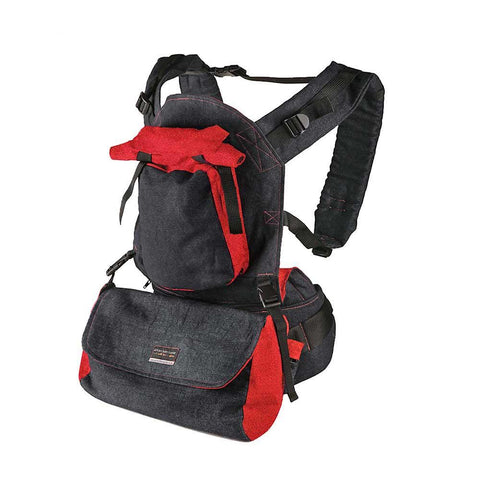Deluxe Baby Carrier - Black Denim & Red