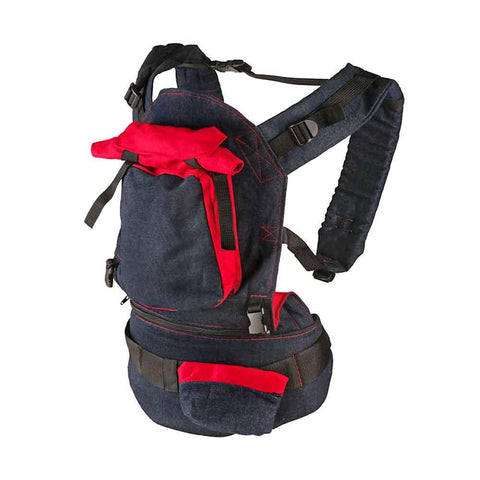 Deluxe Baby Carrier - Blue Denim & Red