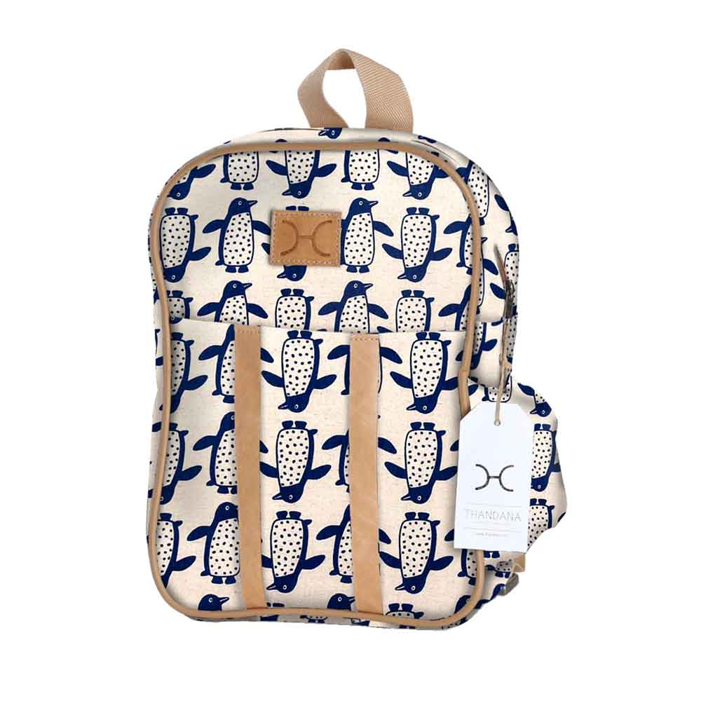 Kids Backpack - Penguin - Ocean on Linen