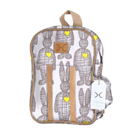 Kids Backpack - Wire Rabbit - Silver on Snow