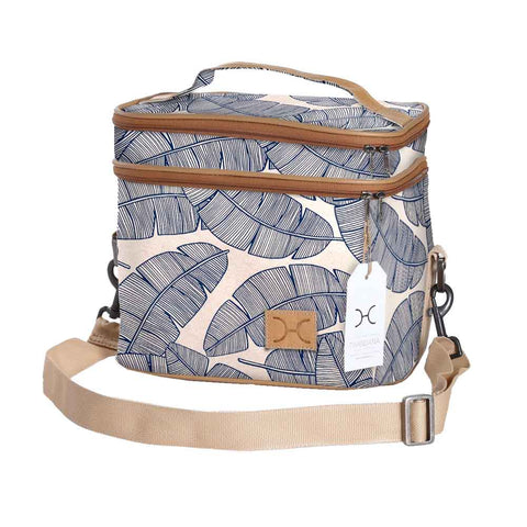 Double Decker Cooler Bag - Shelly Beach - White on Silver