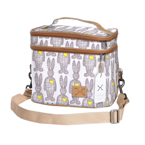 Double Decker Cooler Bag - Wire Rabbit - Silver on Snow