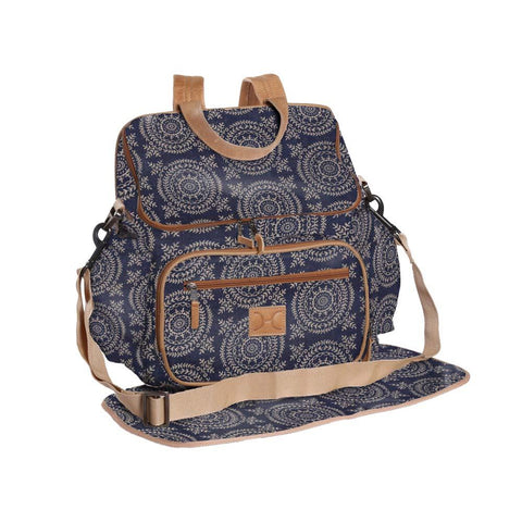 Nappy Backpack - Leaf Tile - Gold on Navy