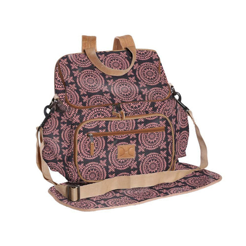 Nappy Backpack - Leaf Tile - Lumo on Charcoal