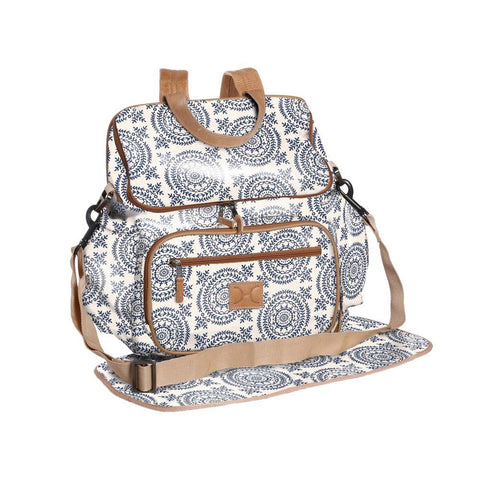 Nappy Backpack - Leaf Tile - Ocean on Linen