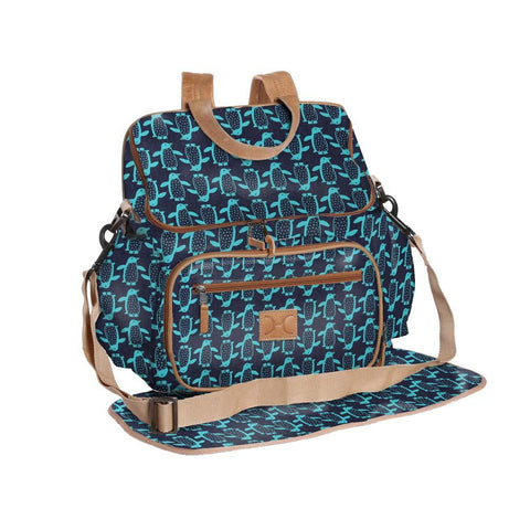 Nappy Backpack - Penguin - Teal on Navy