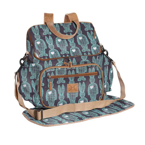 Nappy Backpack - Wire Rabbit - Aqua on Indigo