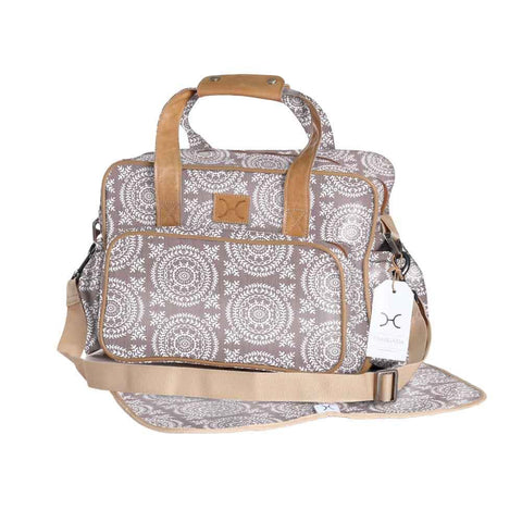 Nappy Bag - Leaf Tile - White on Silver