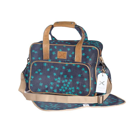 Nappy Bag - Spice - Teal on Navy