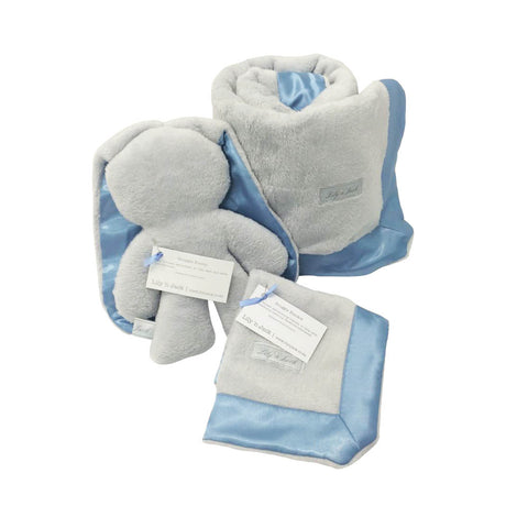 Bunny & Blanket Hamper - Grey & Blue