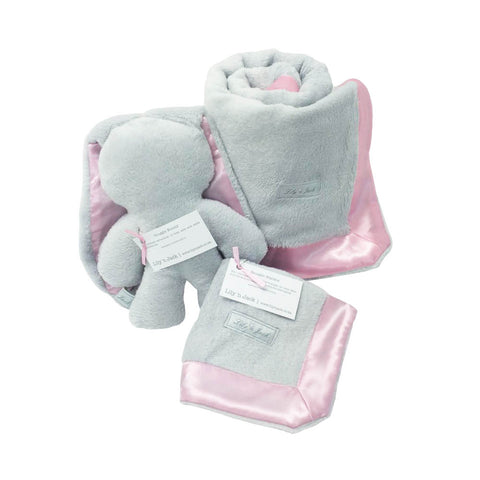 Bunny & Blanket Hamper - Grey & Pink