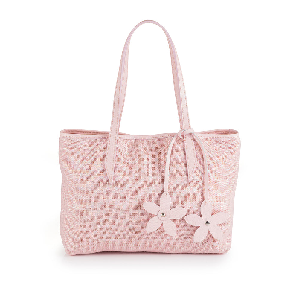 Sika'a Pink Floral Detail Tote Bag