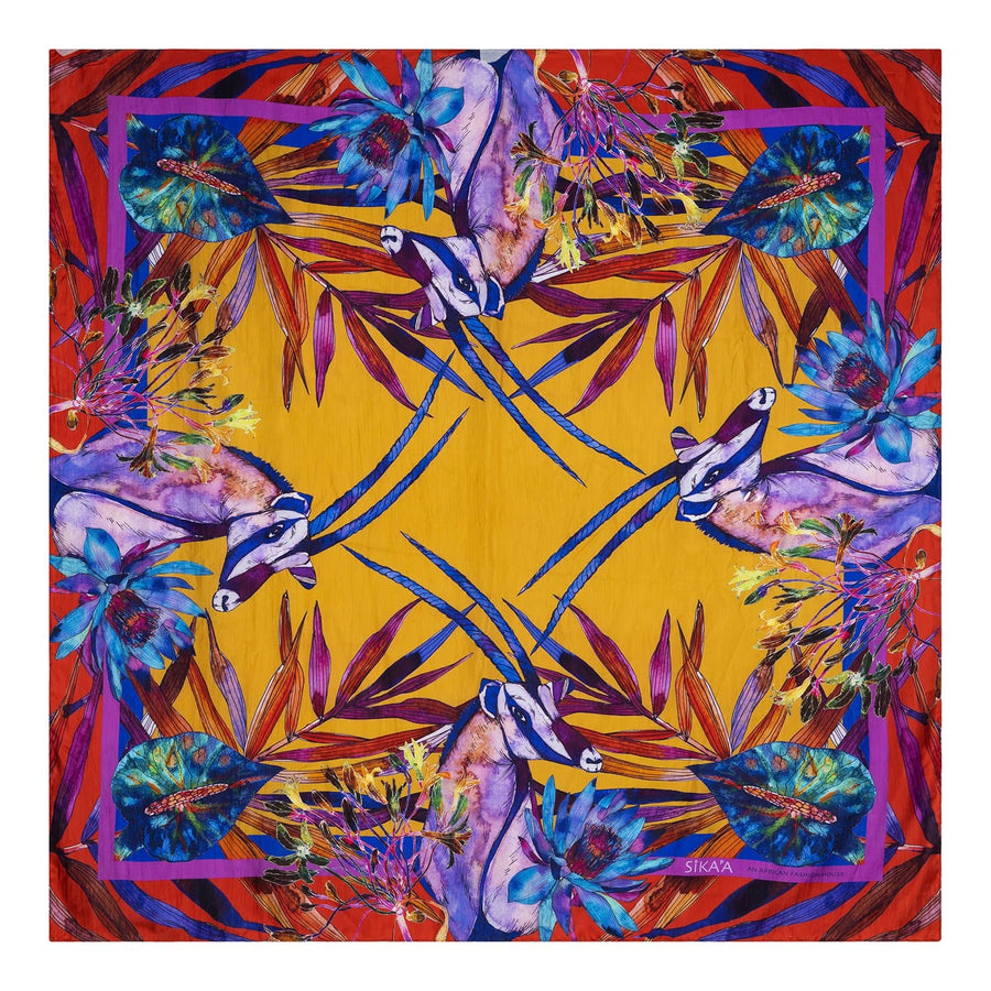 "Hand Painted ""African Antelope"" Print Square Silk Scarf"