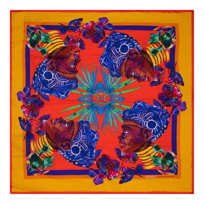 "Hand Painted ""Maasai Queen"" Square Silk Scarf"