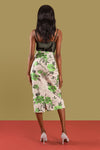 Rose floral-jacquard Pencil Skirt