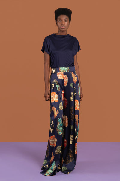 African print palazzo trousers