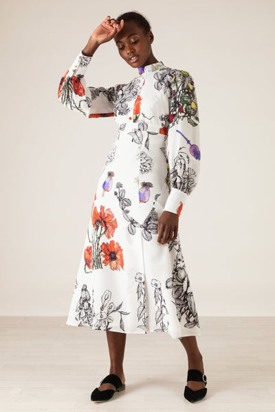 Makenene Poppies-Print Stand Collar Crepe De Chine Midi Dress