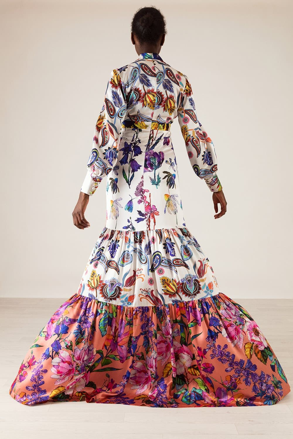 Christine Paisley Floral Print Gown