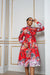 Sika'a African Floral Print Long Sleeve Shirt Dress-Red