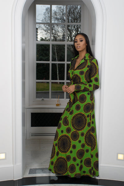 Mora High-Rise Circle Pattern African Print Maxi Skirt