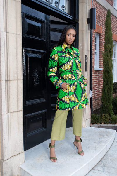 Sika'a African Print Double-breasted Green Trench Coat