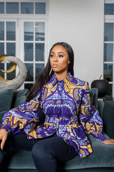 Ngousso Flower African Print Long-Sleeved Peplum Blouse