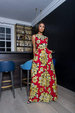 Sika'a African Print  Floral Detail Sleeveless Maxi Dress