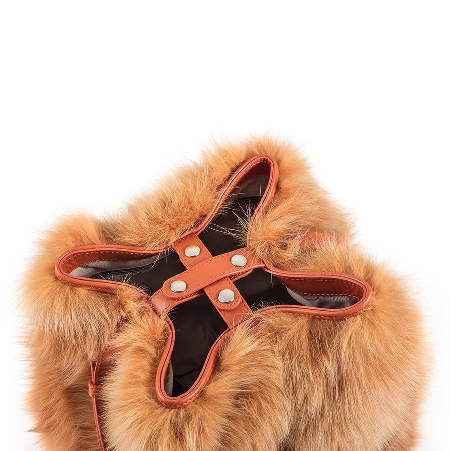 Sika'a Fur and Leather Tan Bucket Bag