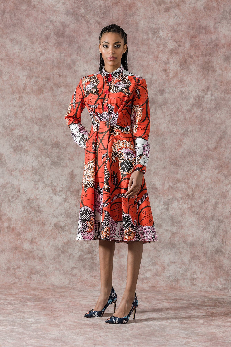 Sika'a African Flower Print Long Sleeve Shirt Dress-Red