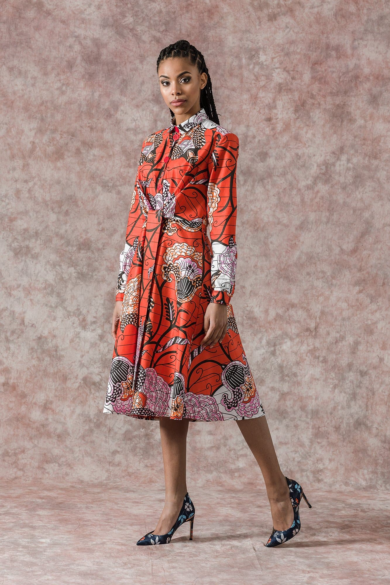 Sikaa African Floral Print Long Sleeve Shirt Dress Red Sikaa